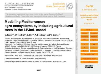 Modelling Mediterranean Agro-ecosystems ... by Fader, M.