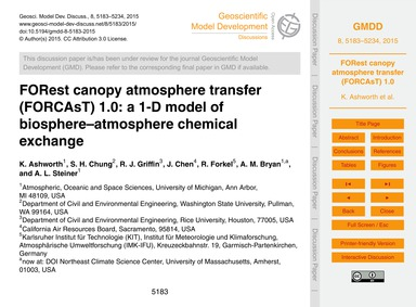 Forest Canopy Atmosphere Transfer (Forca... by Ashworth, K.
