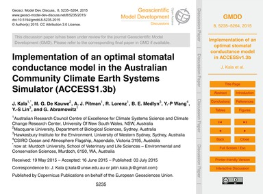 Implementation of an Optimal Stomatal Co... by Kala, J.