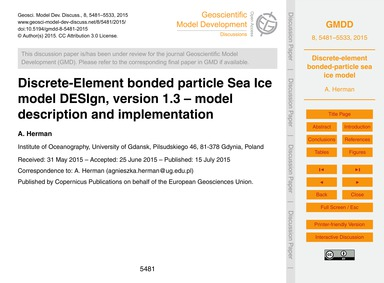 Discrete-element Bonded Particle Sea Ice... by Herman, A.