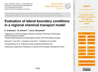 Evaluation of Lateral Boundary Condition... by Andersson, E.