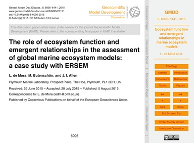 The Role of Ecosystem Function and Emerg... by De Mora, L.