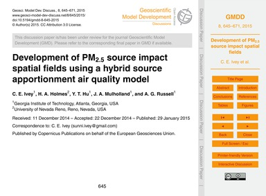 Development of Pm2.5 Source Impact Spati... by Ivey, C. E.