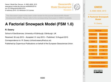 A Factorial Snowpack Model (Fsm 1.0) : V... by Essery, R.