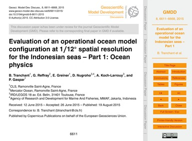Evaluation of an Operational Ocean Model... by Tranchant, B.