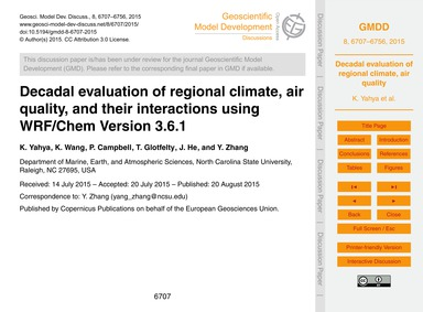 Decadal Evaluation of Regional Climate, ... by Yahya, K.