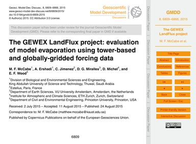 The Gewex Landflux Project: Evaluation o... by McCabe, M. F.