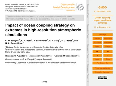 Impact of Ocean Coupling Strategy on Ext... by Zarzycki, C. M.