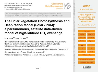 The Polar Vegetation Photosynthesis and ... by Luus, K. A.