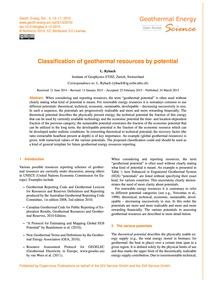 Classification of Geothermal Resources b... by Rybach, L.
