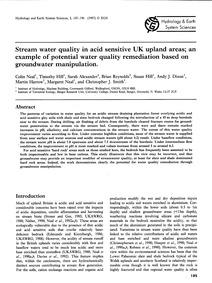 Stream Water Quality in Acid Sensitive U... by Neal, C.