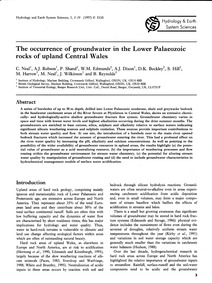 The Occurrence of Groundwater in the Low... by Neal, C.
