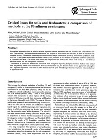 Critical Loads for Soils and Freshwaters... by Jenkins, A.