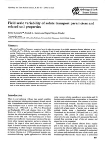 Field Scale Variability of Solute Transp... by Lennartz, B.