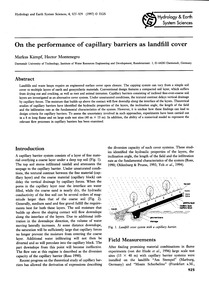 On the Performance of Capillary Barriers... by Kämpf, M.