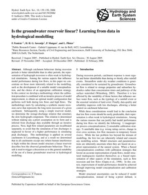 Is the Groundwater Reservoir Linear? Lea... by Fenicia, F.