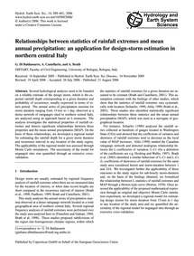 Relationships Between Statistics of Rain... by Di Baldassarre, G.