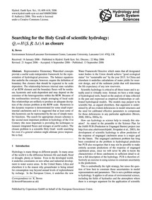 Searching for the Holy Grail of Scientif... by Beven, K.