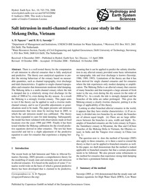 Salt Intrusion in Multi-channel Estuarie... by Nguyen, A.&Nbsp;D.