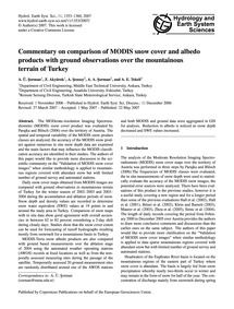 Commentary on Comparison of Modis Snow C... by Şorman, A. Ü.