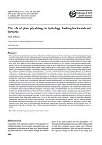 The Role of Plant Physiology in Hydrolog... by Roberts, J.