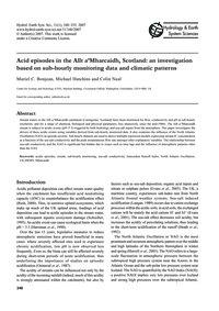 Acid Episodes in the Allt A'Mharcaidh, S... by Bonjean, M. C.