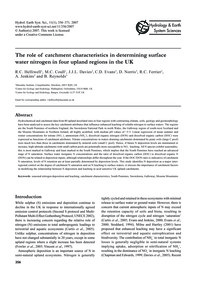 The Role of Catchment Characteristics in... by Helliwell, R. C.