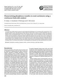 Characterising Phosphorus Transfers in R... by Jordan, P.