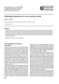 Hydrological Prediction in a Non-station... by Clarke, R. T.