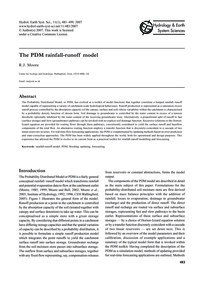 The Pdm Rainfall-runoff Model : Volume 1... by Moore, R. J.