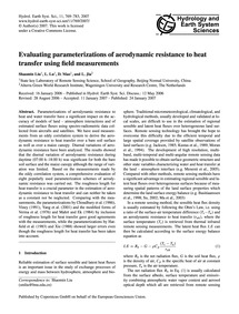Evaluating Parameterizations of Aerodyna... by Liu, Shaomin