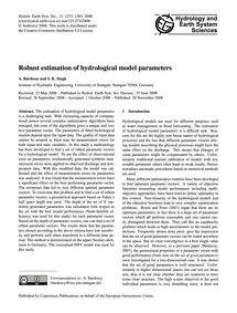 Robust Estimation of Hydrological Model ... by Bárdossy, A.