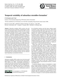 Temporal Variability of Subsurface Storm... by Kienzler, P. M.