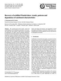 Recovery of Acidified Finnish Lakes: Tre... by Vuorenmaa, J.
