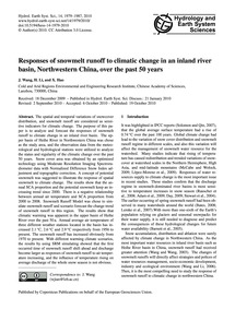 Responses of Snowmelt Runoff to Climatic... by Wang, J.