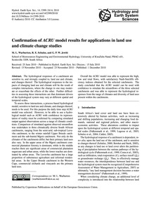 Confirmation of Acru Model Results for A... by Warburton, M. L.