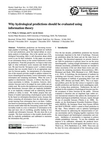 Why Hydrological Predictions Should Be E... by Weijs, S. V.