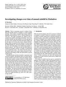 Investigating Changes Over Time of Annua... by Mazvimavi, D.