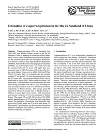 Estimation of Evapotranspiration in the ... by Liu, S.
