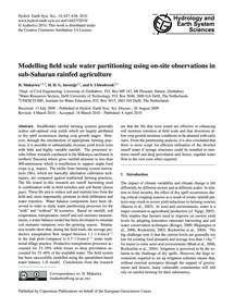 Modelling Field Scale Water Partitioning... by Makurira, H.