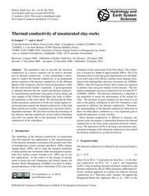 Thermal Conductivity of Unsaturated Clay... by Jougnot, D.