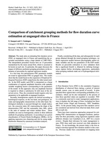 Comparison of Catchment Grouping Methods... by Sauquet, E.