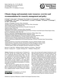 Climate Change and Mountain Water Resour... by Viviroli, D.