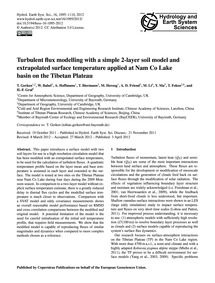 Turbulent Flux Modelling with a Simple 2... by Gerken, T.