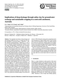 Implications of Deep Drainage Through Sa... by Timms, W. A.