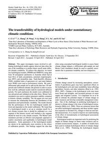The Transferability of Hydrological Mode... by Li, C. Z.