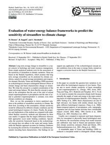 Evaluation of Water-energy Balance Frame... by Renner, M.