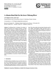 A Climate-flood Link for the Lower Mekon... by Delgado, J. M.