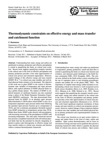 Thermodynamic Constraints on Effective E... by Rasmussen, C.