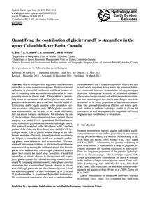 Quantifying the Contribution of Glacier ... by Jost, G.